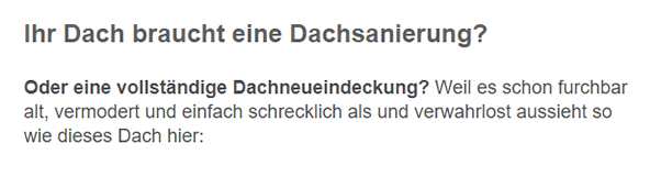 Dachsanierungen aus  Villingen-Schwenningen, Niedereschach, Vöhrenbach, Sankt Georgen (Schwarzwald), Bad Dürrheim, Dauchingen, Königsfeld (Schwarzwald) und Mönchweiler, Brigachtal, Unterkirnach