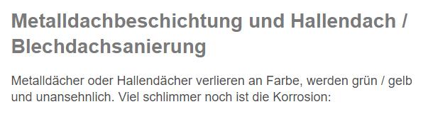 Hallendachsanierungen aus  Rüsselsheim (Main), Trebur, Groß Gerau, Hattersheim (Main), Hochheim (Main), Ginsheim-Gustavsburg, Nauheim und Flörsheim (Main), Raunheim, Bischofsheim