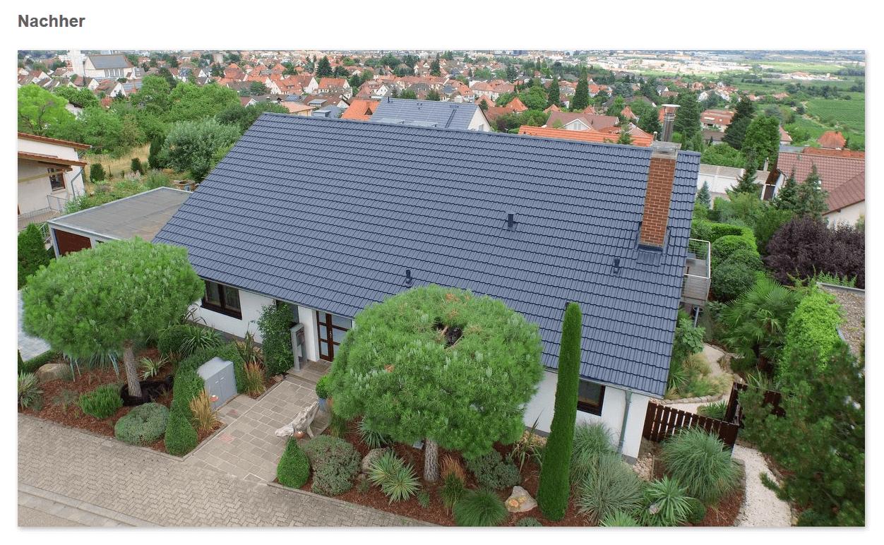 Dach Nachher aus 72764 Reutlingen: Dachversiegelung, saubere Oberfläche, Ziegel in neuer Farbe, Mehr Lebensdauer